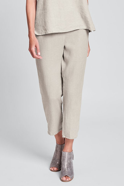 FLAX Pocketed Ankle Pant - Linen Pants - Natural