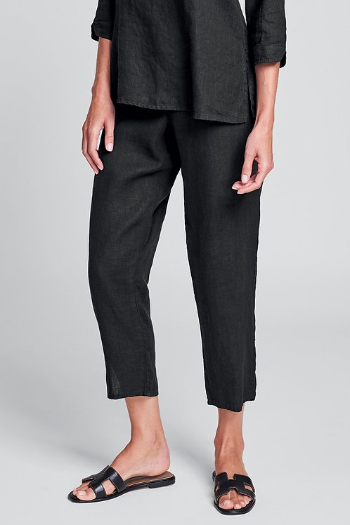 FLAX Pocketed Ankle Pant - Linen Pants - Black