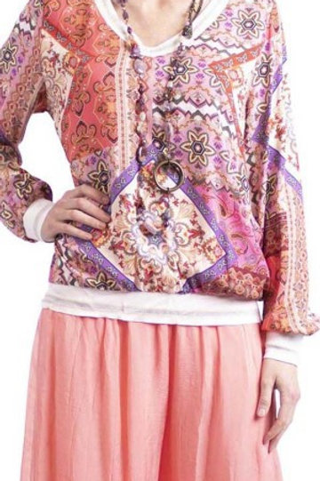 GIGI MODA Paisley Patch V-Neck Blouse with Stretch Band