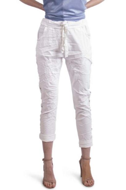 GIGI MODA Crop Pant, Drawstring Waist with Side Slit & Rivet Stripe
