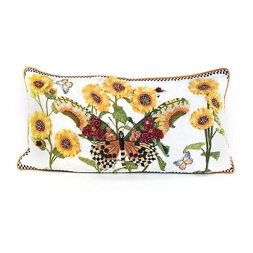 Monarch Lumbar Butterfly Pillow - White