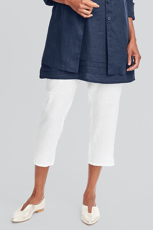 FLAX Pocketed Ankle Pant - Linen Pants - White