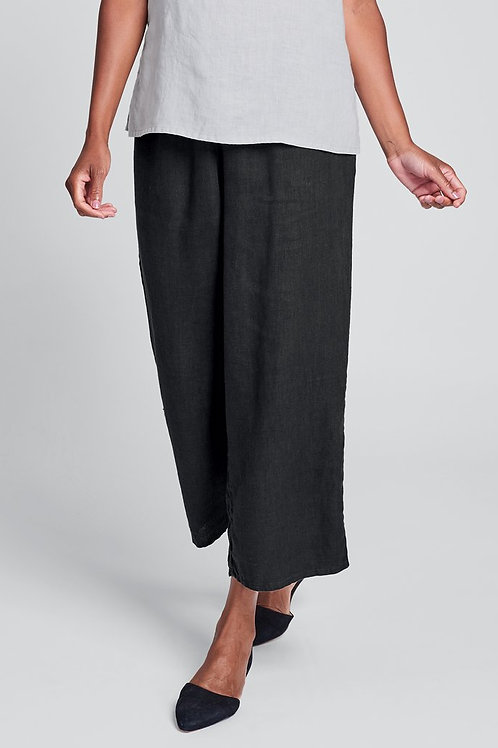 FLAX Floods - Linen Pants with Elastic Waste - Black