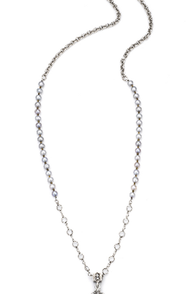 FRENCH KANDE     SILVER PEARLS AND CHAIN WITH SWAROVSKI AND LA TREILLE MEDALLION
