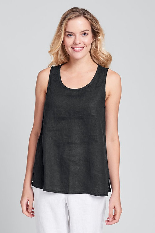 FLAX Fundamental Tank - Linen Tank Top - Black