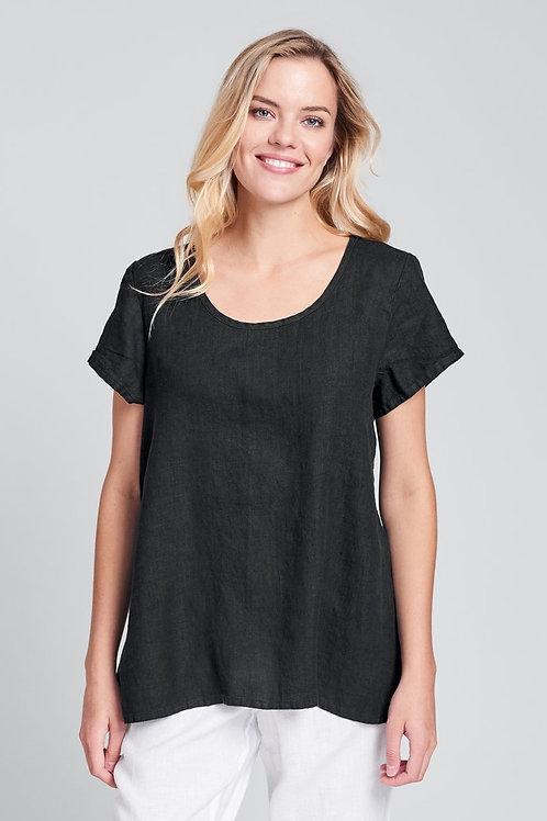 FLAX Blossom Blouse - Linen Shirt- Black
