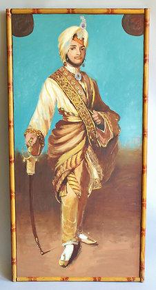 Imposing oil on board painting of Maharajah Duleep