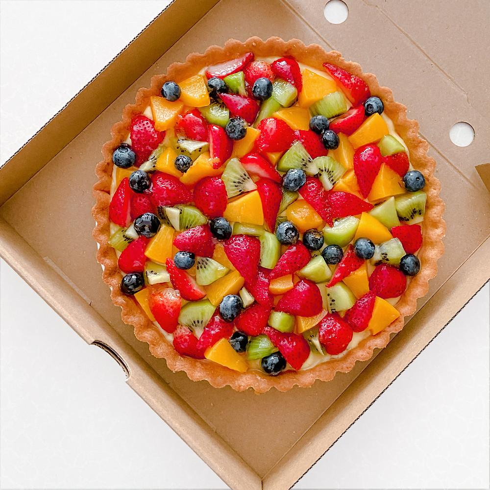 Handmade Mixed Fruit Tart filled with assortment of fruits