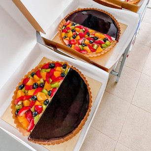 Fruit Tart and Dark Chocolate Tart