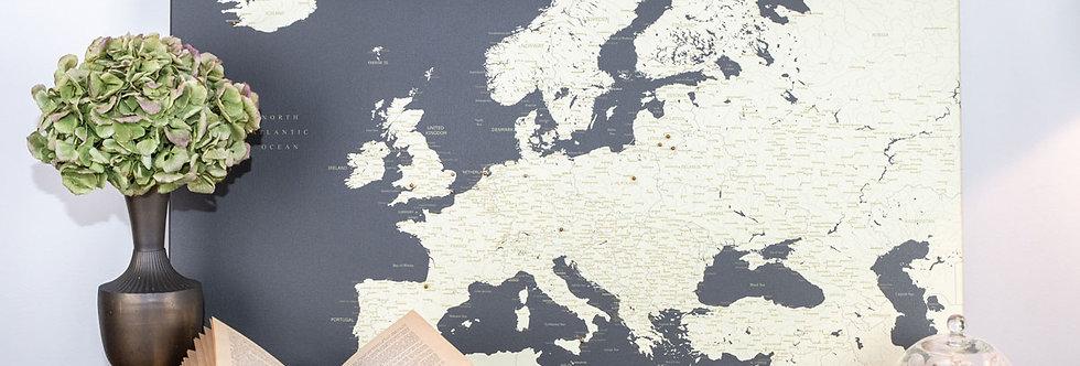 Tamsiai pilkas europos žemėlapis ant drobės