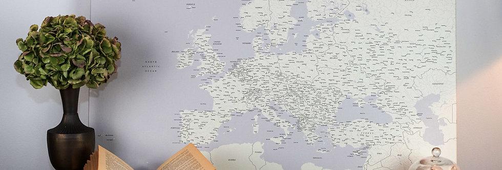 Šviesiai pilkas europos žemėlapis ant drobės