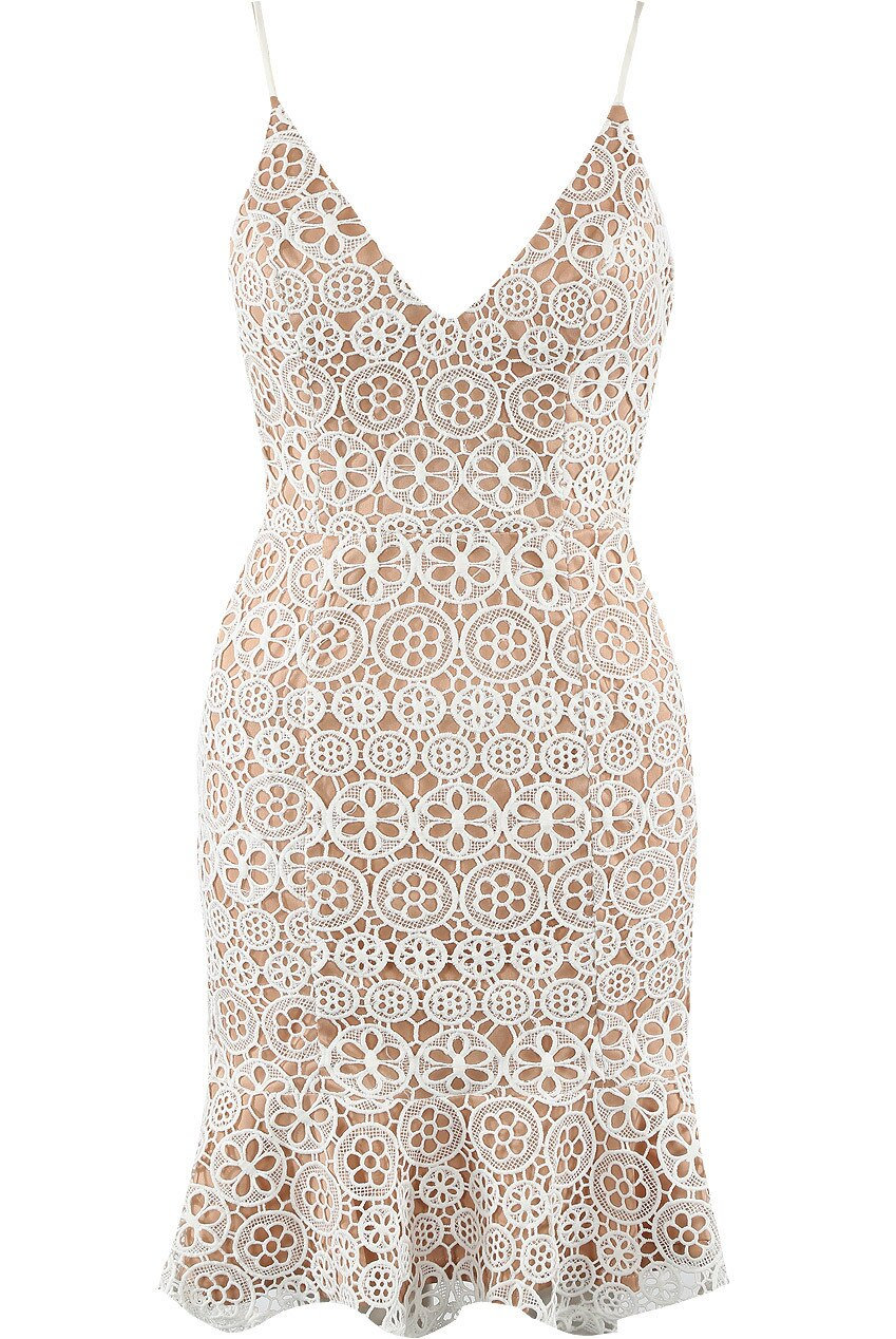 White Overlay Lace Cami Dress