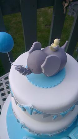 Elephant and Chick Christening Cake