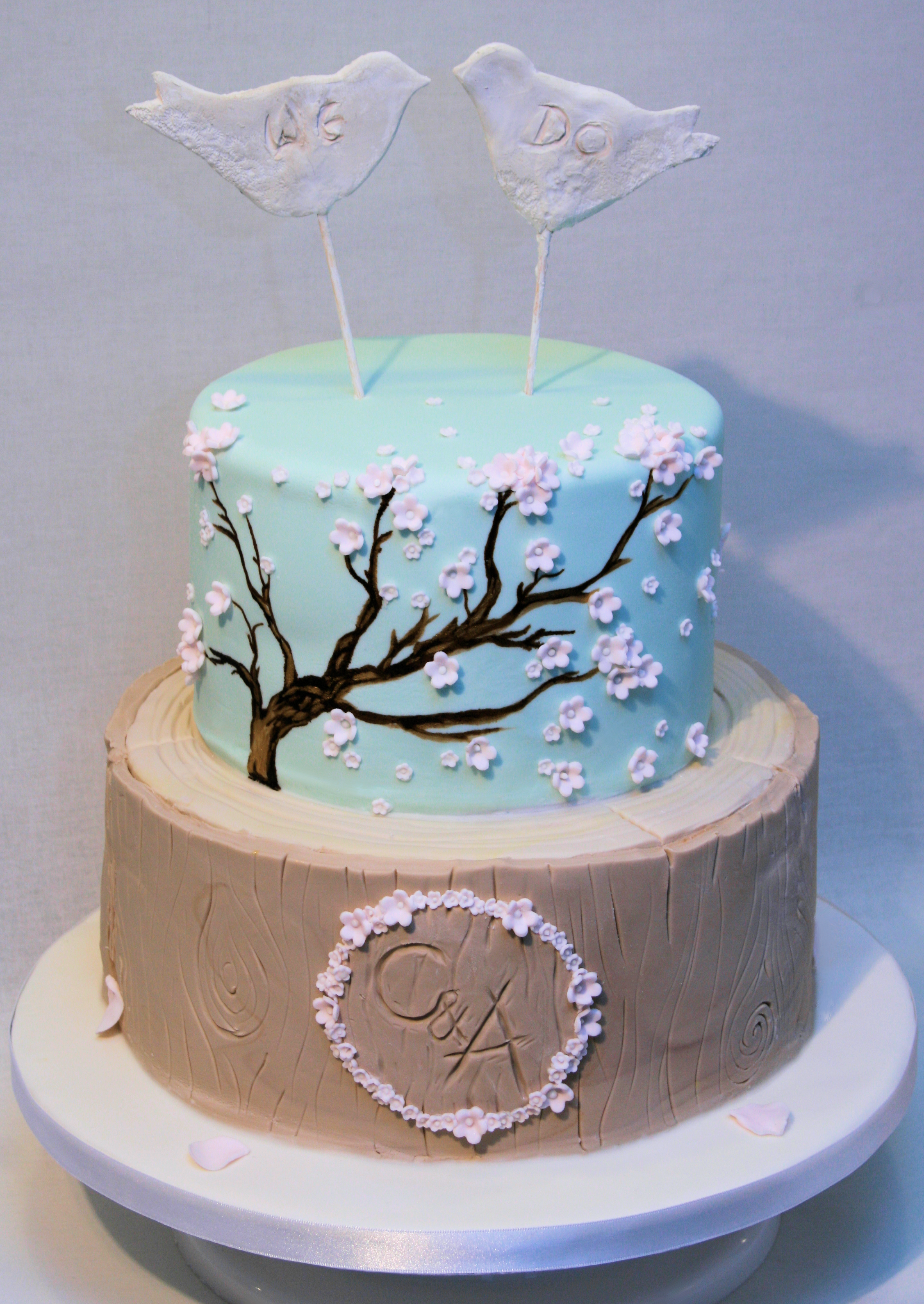 Rustic Cherry Blossom Wedding Cake