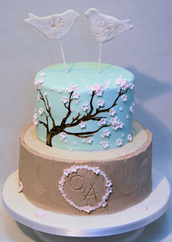 Rustic Cherry Blossom Wedding Cake