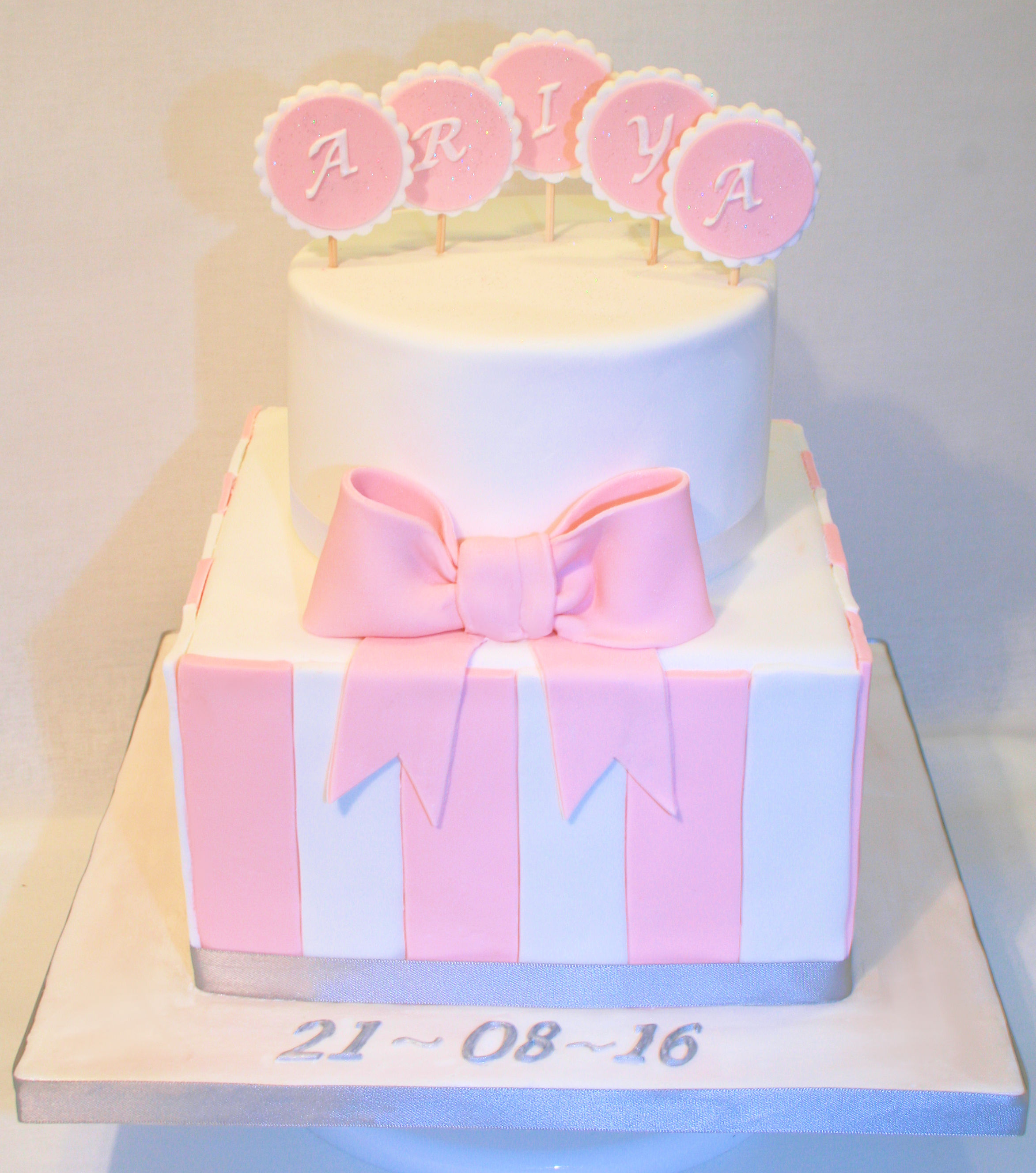 Pink & White stripe cake