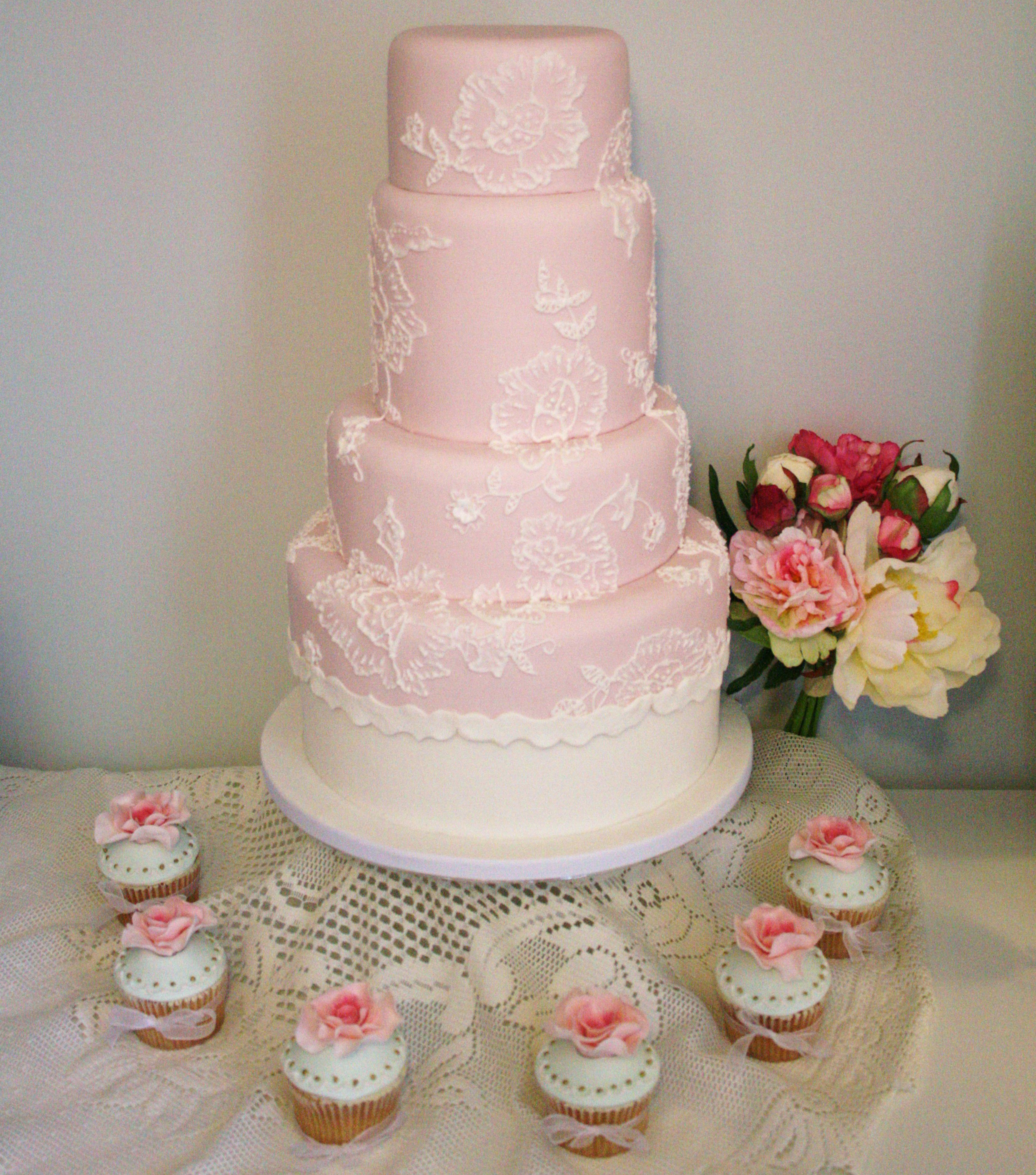 Pink Lace Cake and Rose Cupcakes