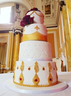 Indian gold red wedding cake