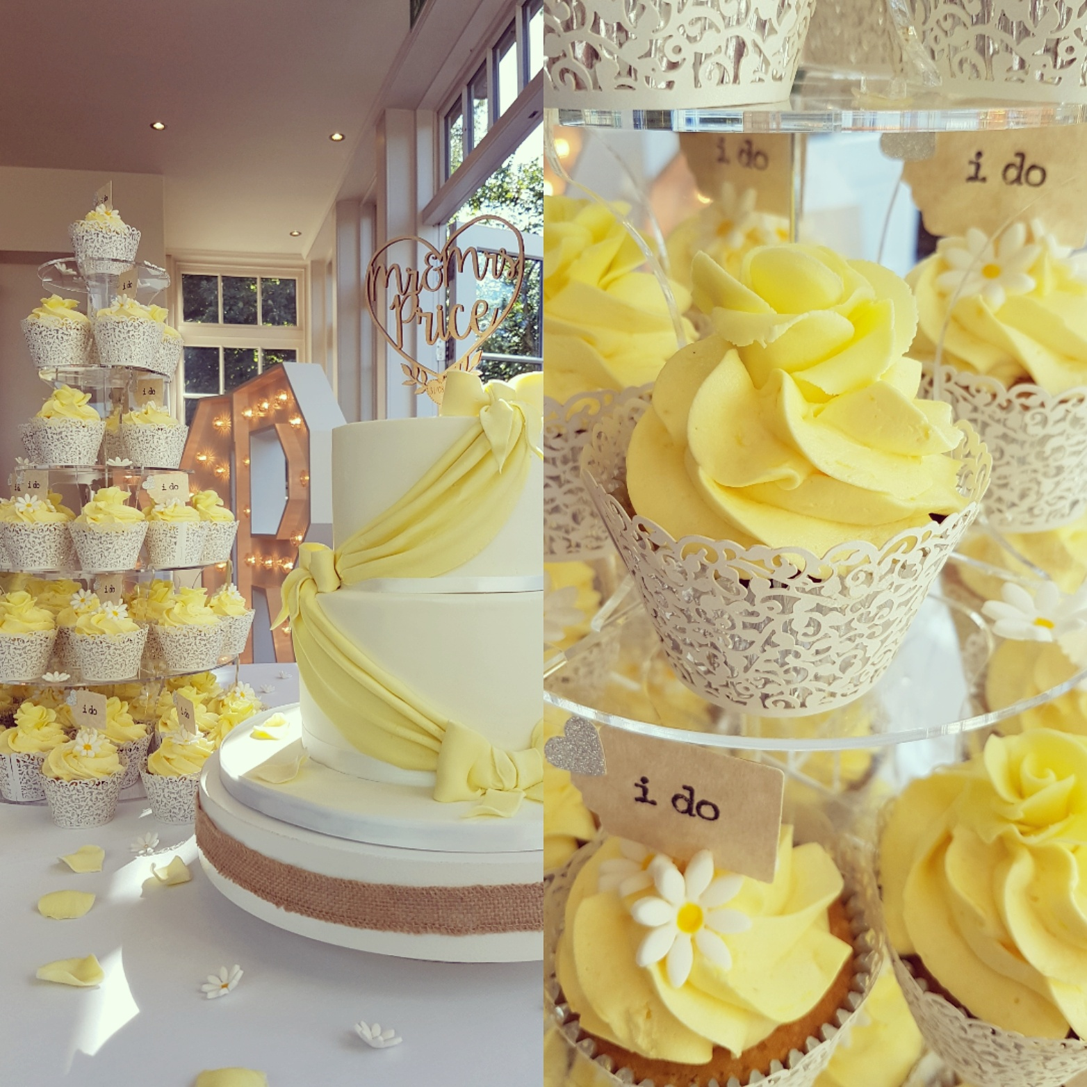 Two tier yellow and white wedding