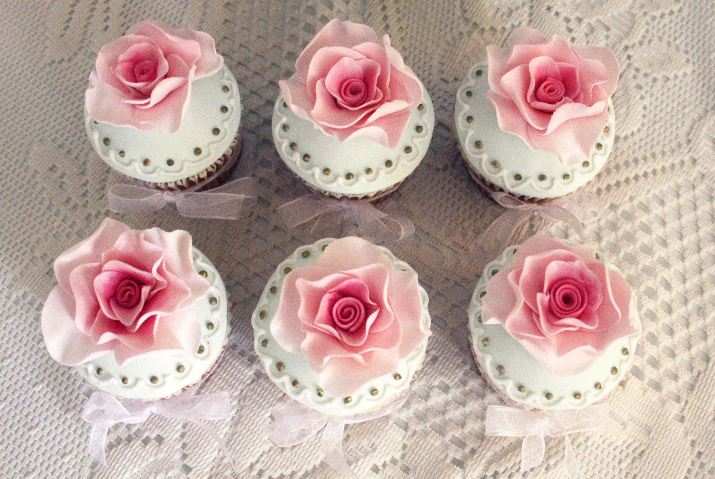 Wedding Rose Cupcakes