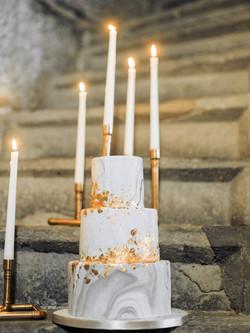 Marble & Copper Wedding Cake