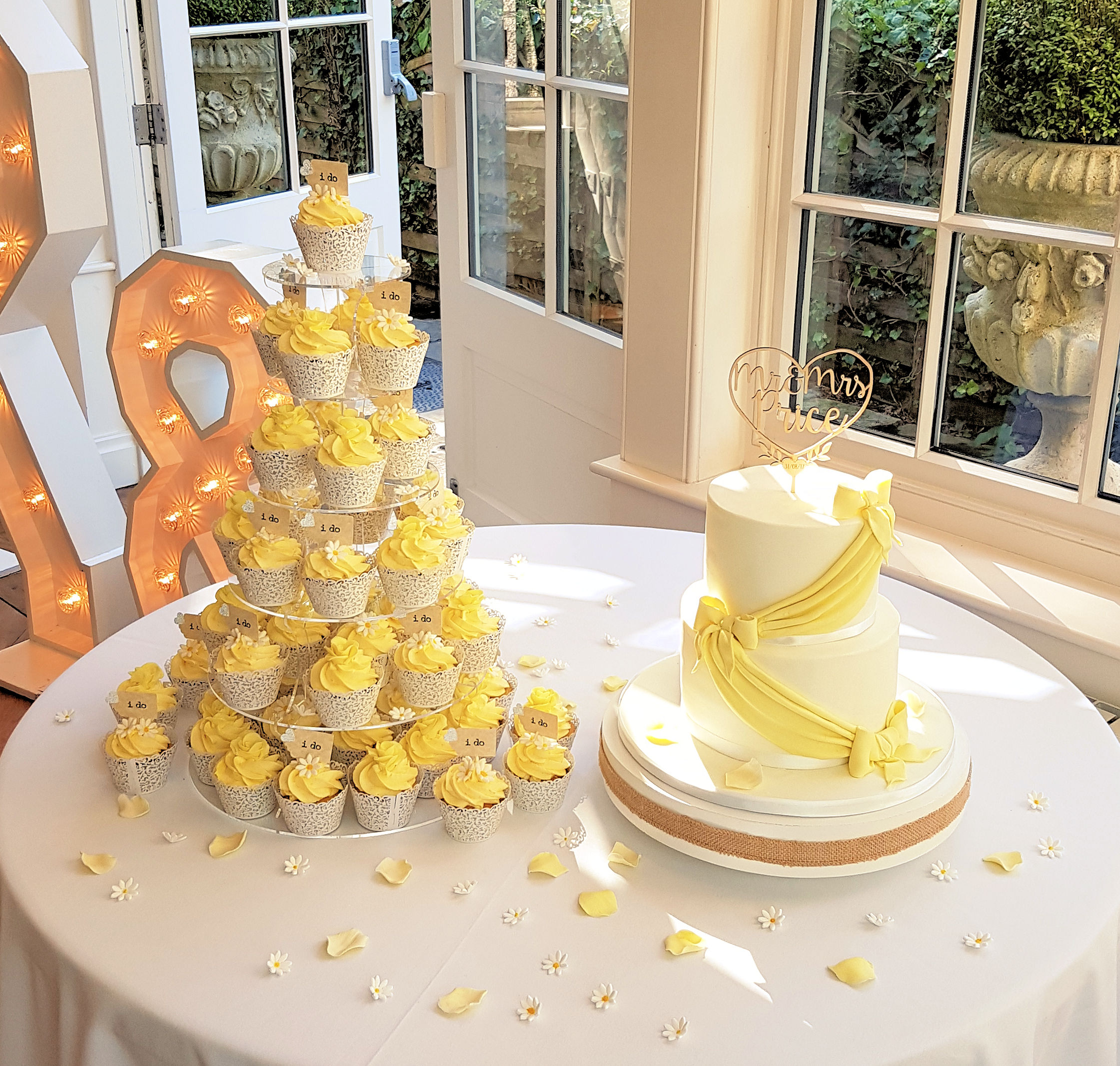 Cupcake tower & two tier Wedding cak