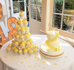 Cupcake tower & two tier Wedding cak