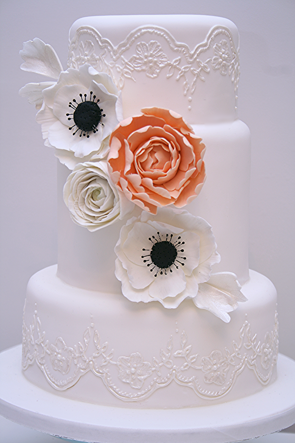 Lace & Floral Wedding Cake