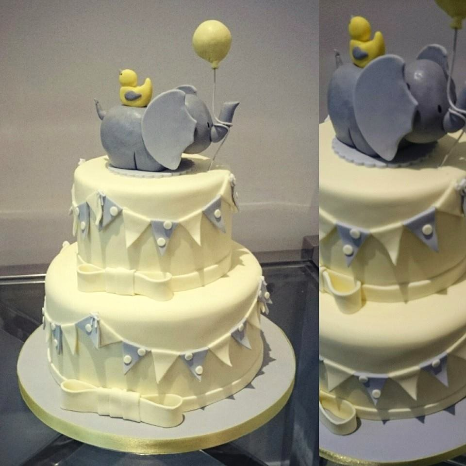 Yellow & Grey Baby Shower Cake