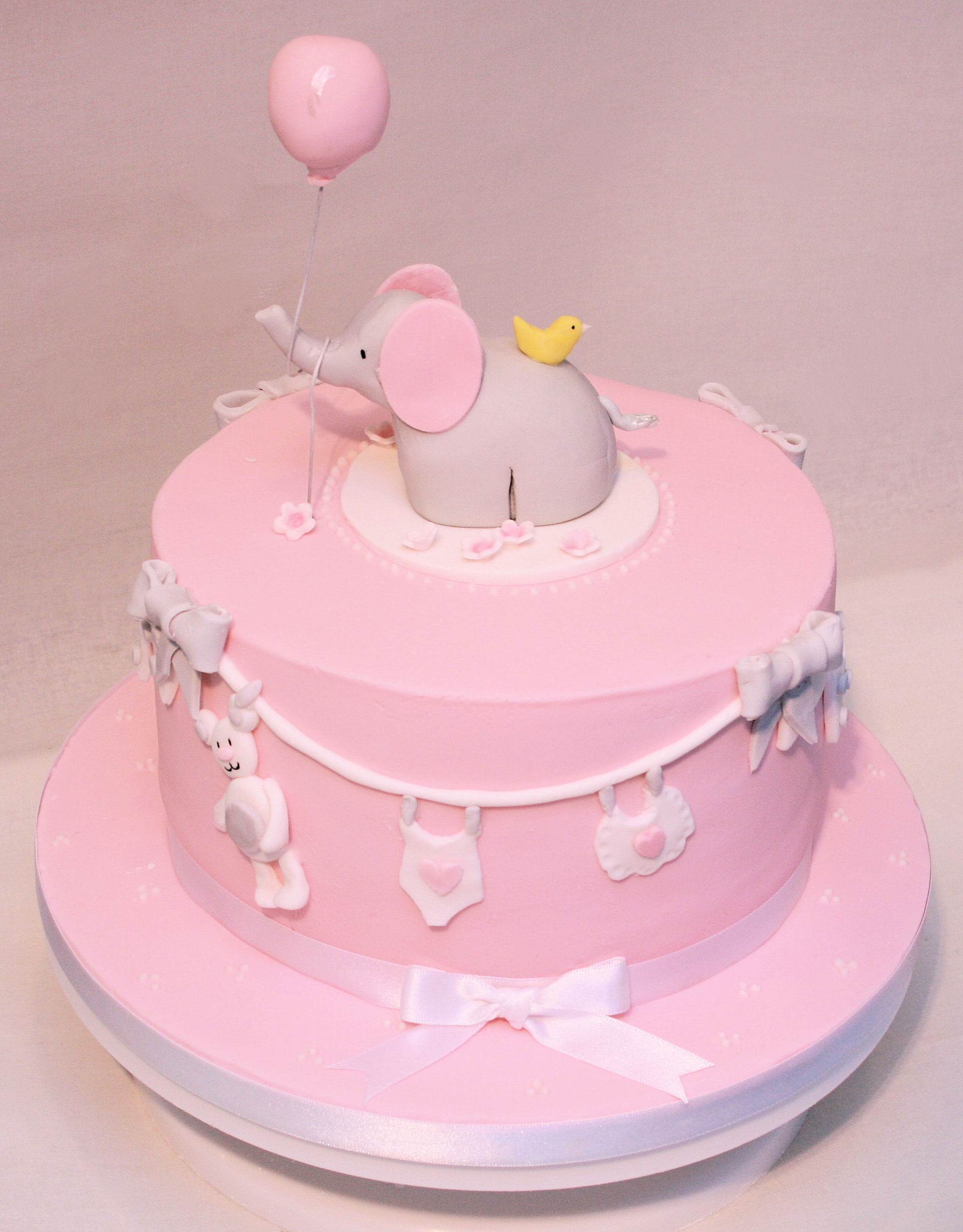baby girl shower elephant cake