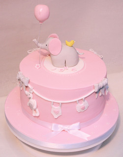 baby girl shower elephant cake