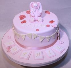 Buny & Bunting Christening Cake