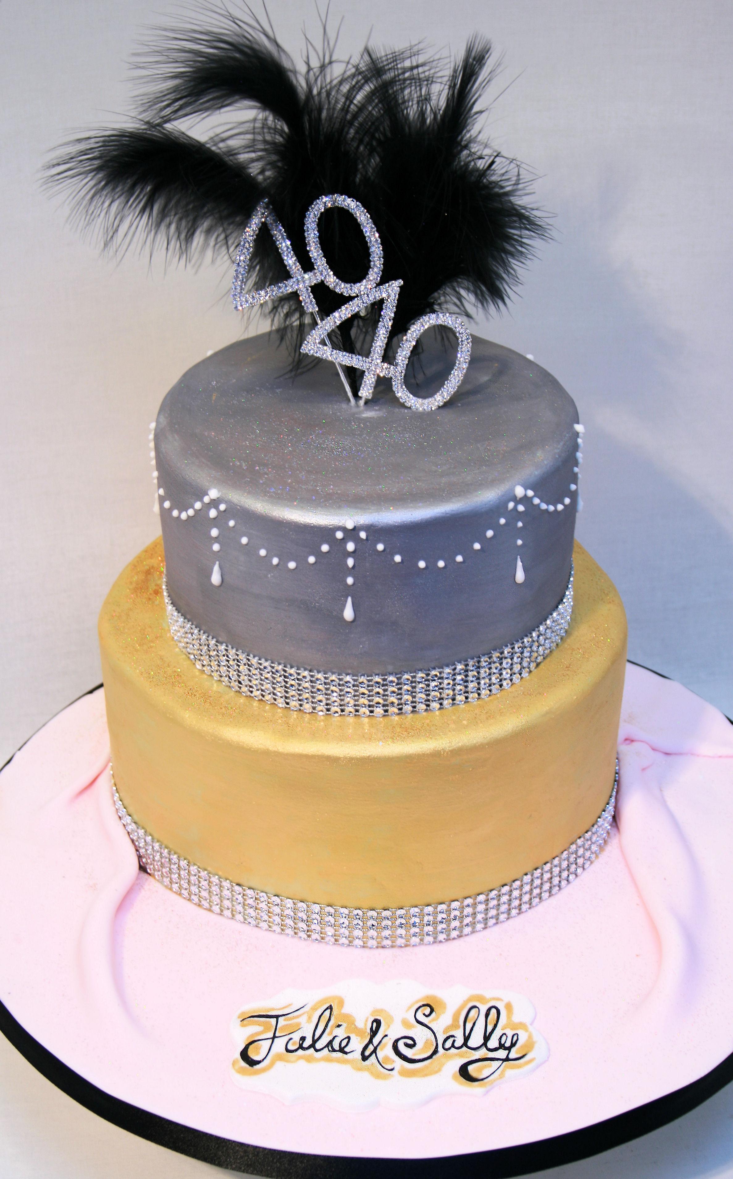 40th Metallic birthday cake