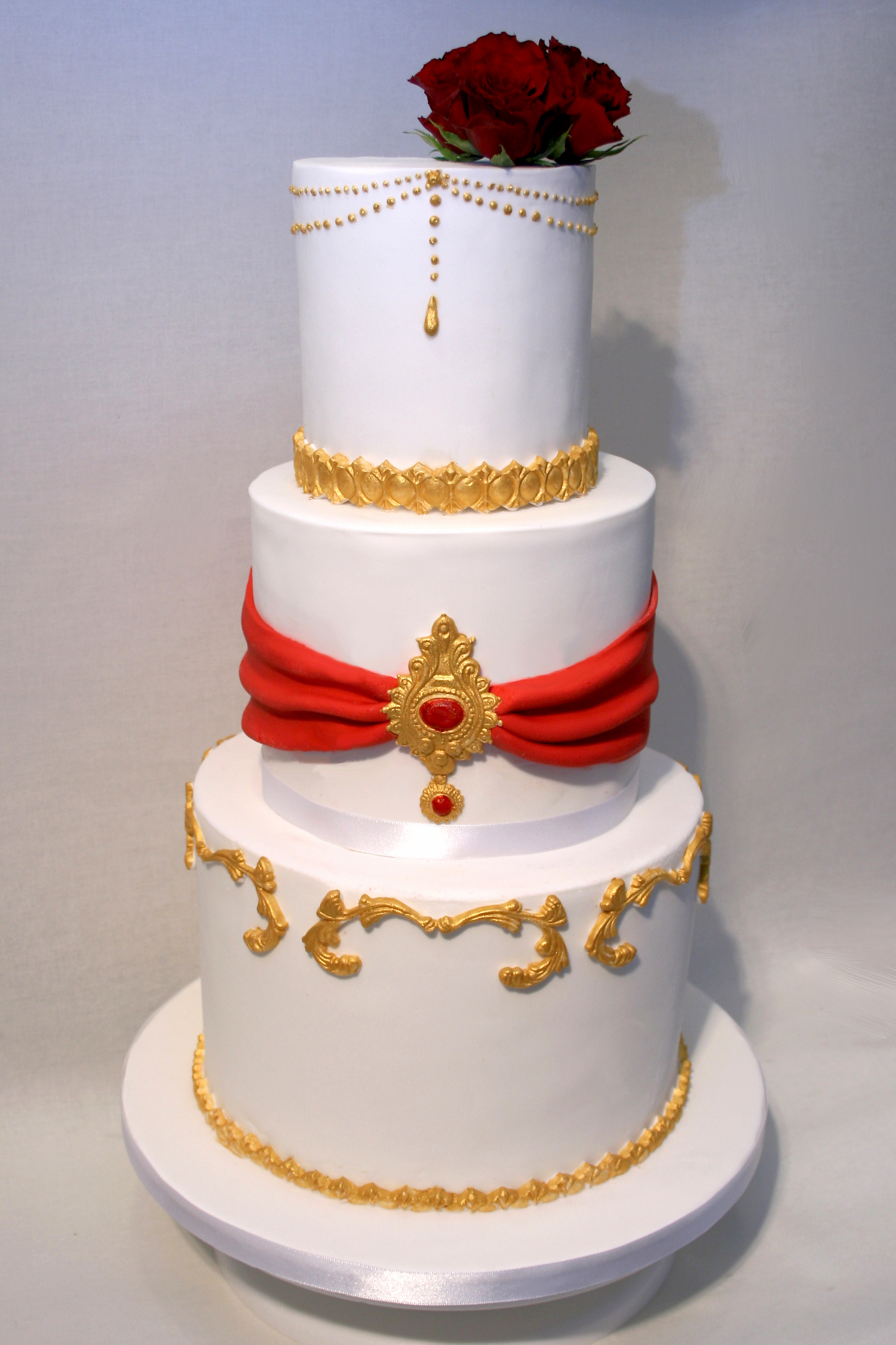 White Red Gold Indian Wedding Cake
