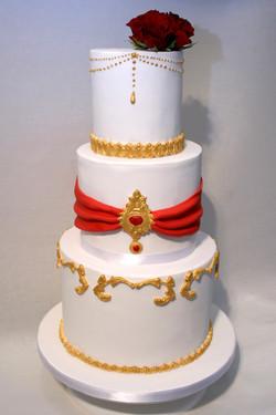 White Red Gold Indian Wedding Cake