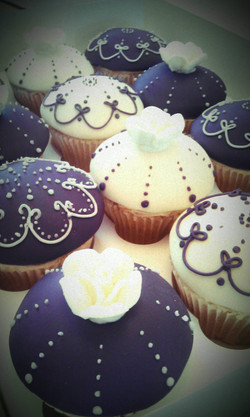 Purple Piped Luxury Cupcakes