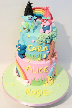 Troll two tier Childrens Cake