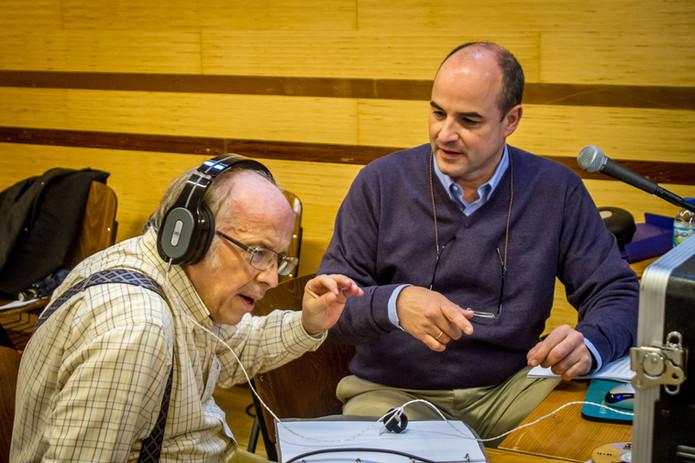 """Con el director de orquesta José Luis Temes en la grabación de """"Becqueriana"""""""