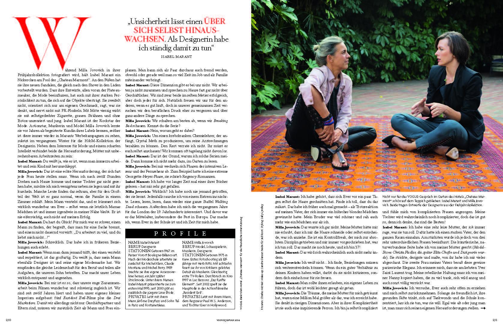VOGUE Isabel Marant + Milla Jovovich