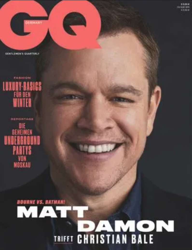 Cover story Matt Damon + Christian Bale GQ