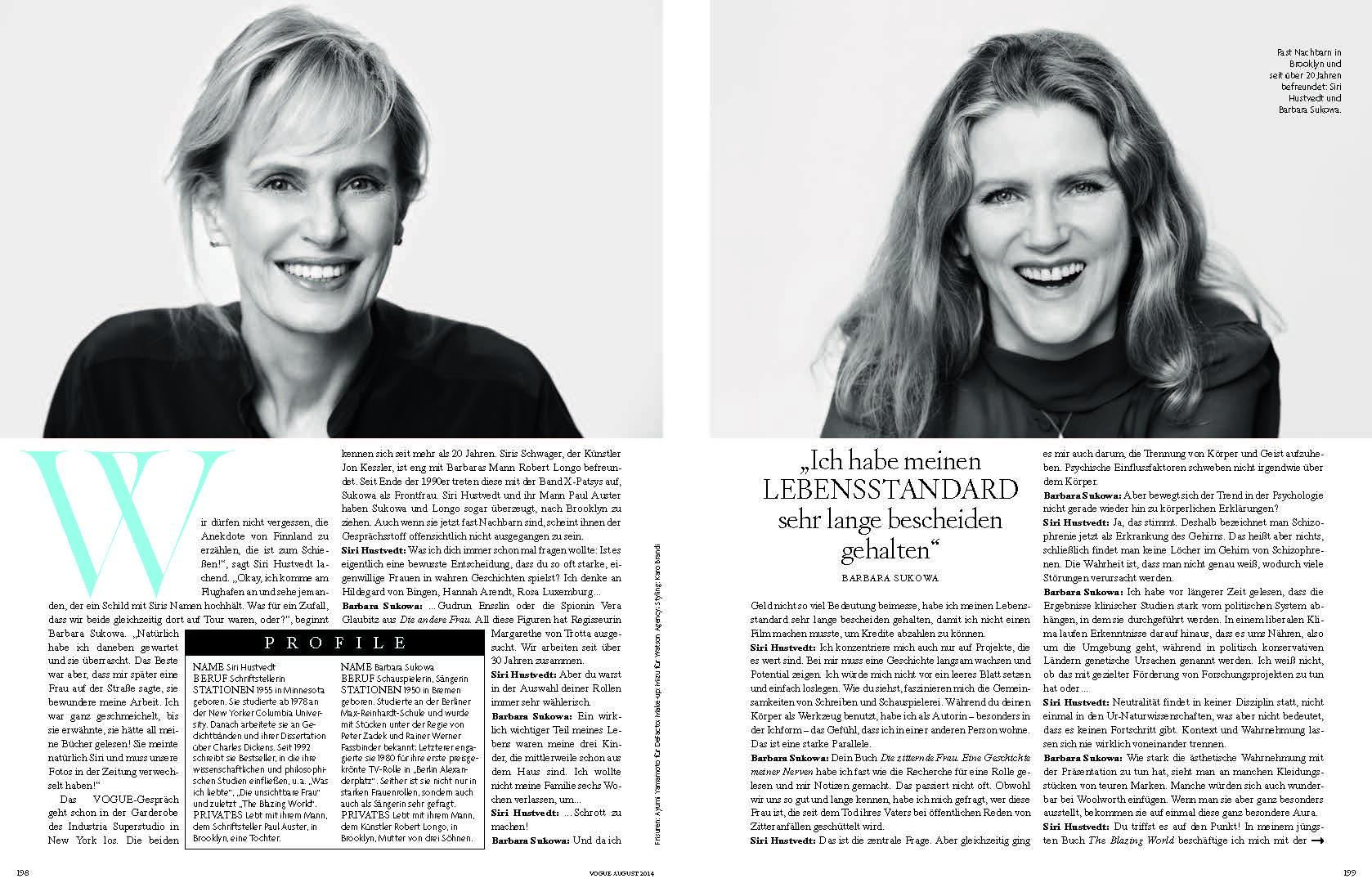 Siri Hustvedt + Barbara Sukowa