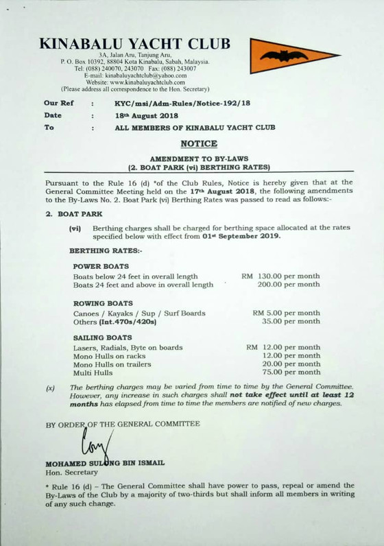 NOTICE - Amendment to By-Laws (2.  Boat Park (vi) Berthing Rates)