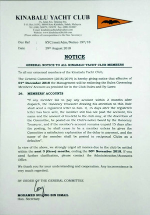 General notice to all Kinabalu Yacht Club members.