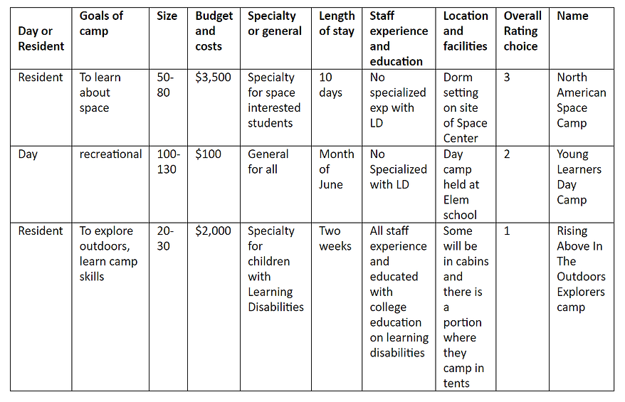 Chart for choosing a Summer Camp for Learning Disabilities