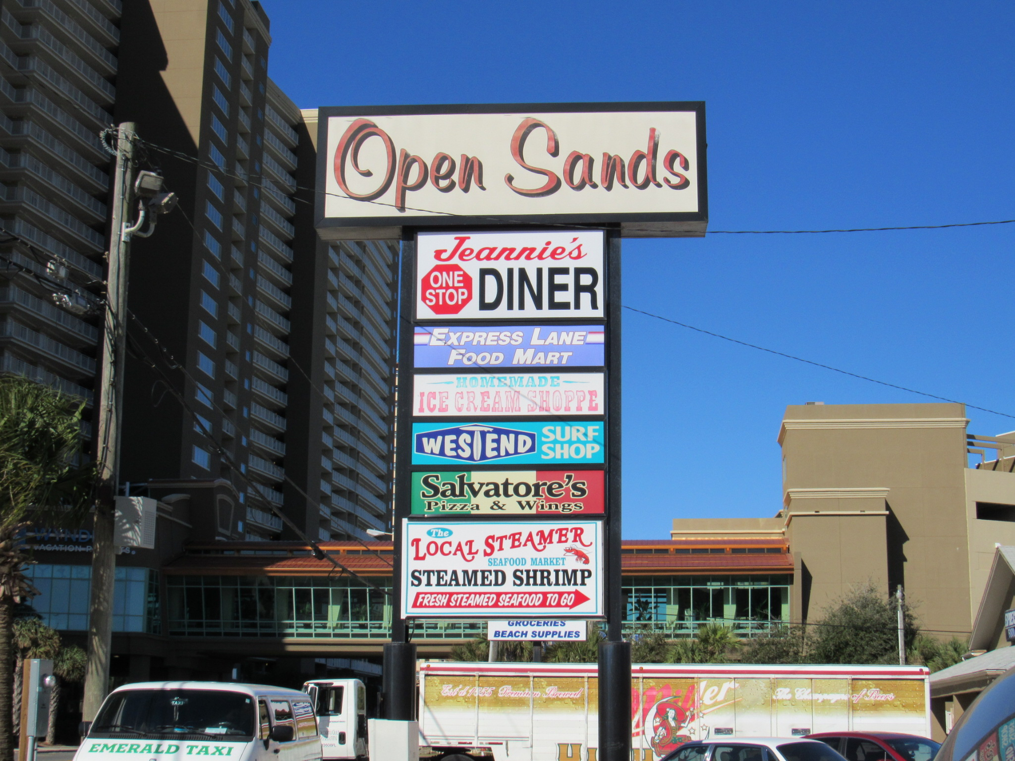 Open Sands Plaza Sign