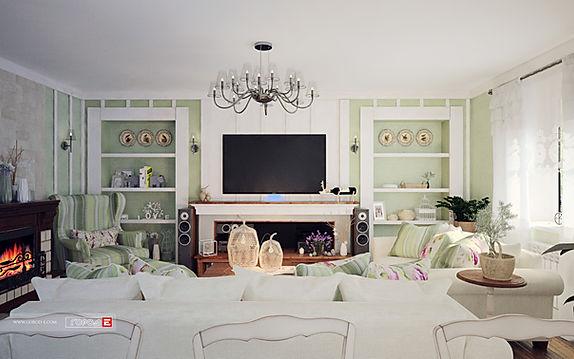Дизайн интерьера коттеджа в стиле Прованс, дизайн гостиной, дизайн кухни, дизайн спальни, дизайн санузла