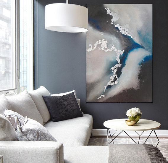 "Интерьерная картина маслом ""Облака"" 90х60 см"