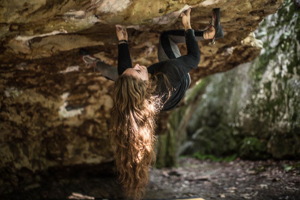A climber floats through a boulder problem in Rocktown, Georgia.