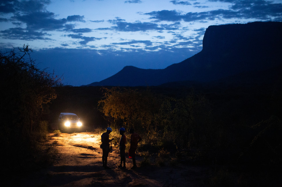 Climbers regroup in the shadow of Mount Ololokwe. For Climbing Magazine.
