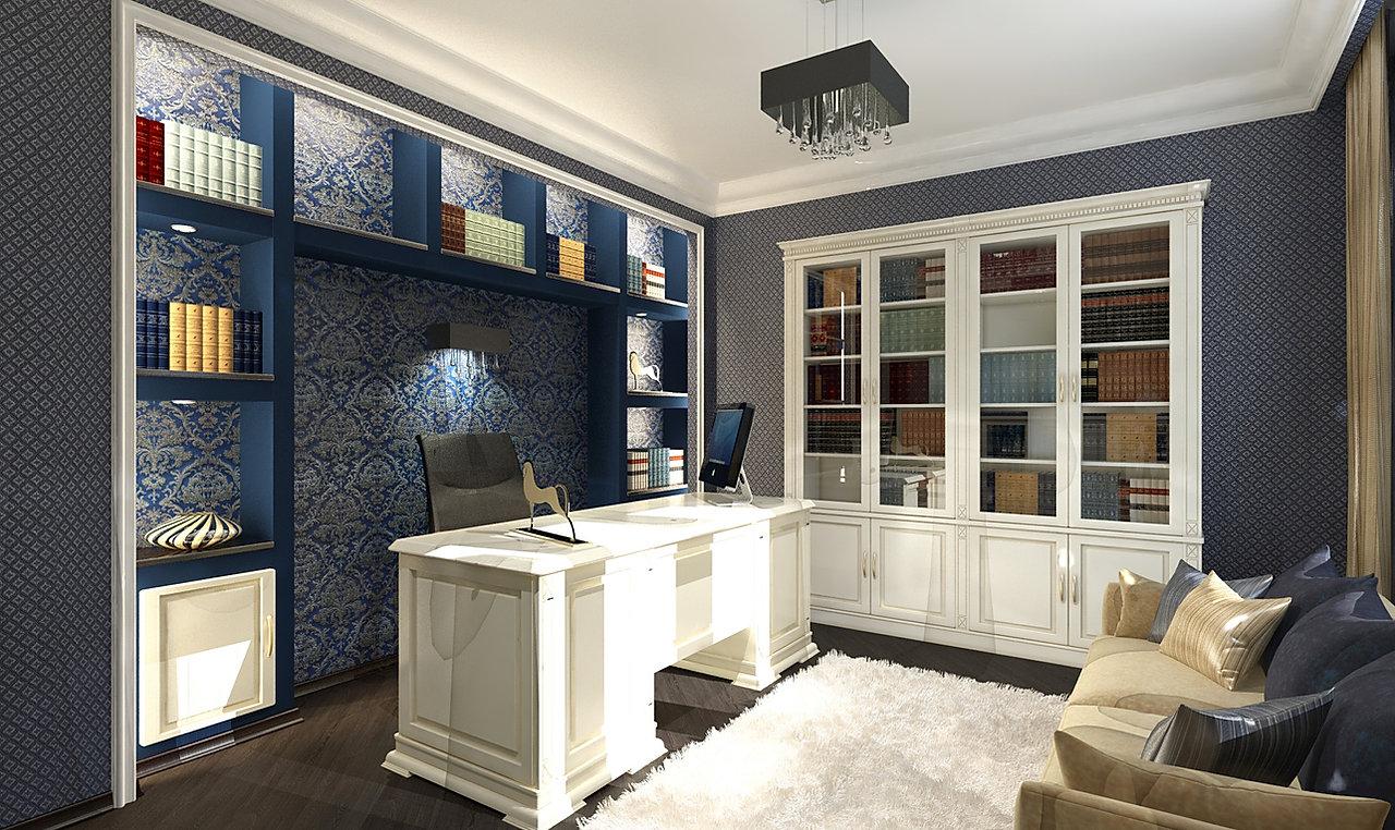 Дизайн-проект интерьера 3-х комнатной квартиры в Екатеринбурге. Функциональный минимализм, Вечная Классика и смелый Авангард под одной крышей. Ниша в интерьере кабинета, синий цвет комнаты, рама, полки, стеллаж в нише, стильный домашний кабинет, солидный интерьер, лепнина